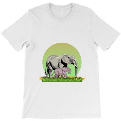 Éléphants In Nature T-shirt Designed By Zein