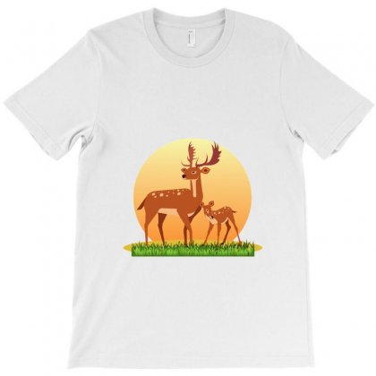 Mother Deer And Her Baby T-shirt Designed By Zein