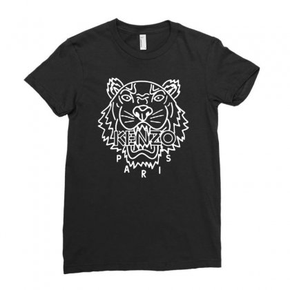 Kenzo White Tiger Ladies Fitted T-shirt Designed By Meganphoebe
