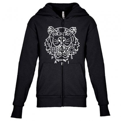 Kenzo White Tiger Youth Zipper Hoodie Designed By Meganphoebe