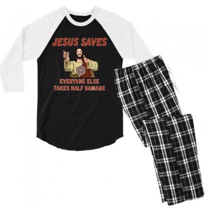 Jesus Saves Everyone Else Takes Half Damage Men's 3/4 Sleeve Pajama Set Designed By Meganphoebe