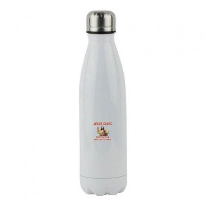 Jesus Saves Everyone Else Takes Half Damage Stainless Steel Water Bottle Designed By Meganphoebe
