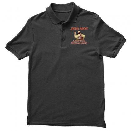 Jesus Saves Everyone Else Takes Half Damage Men's Polo Shirt Designed By Meganphoebe