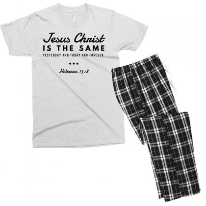 Jesus Christ Is The Same Yesterday Today And Forever Men's T-shirt Pajama Set Designed By Meganphoebe