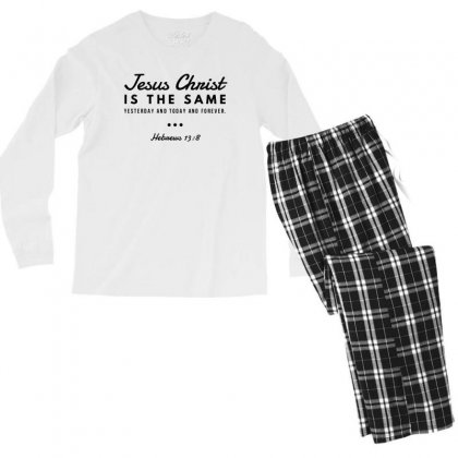 Jesus Christ Is The Same Yesterday Today And Forever Men's Long Sleeve Pajama Set Designed By Meganphoebe
