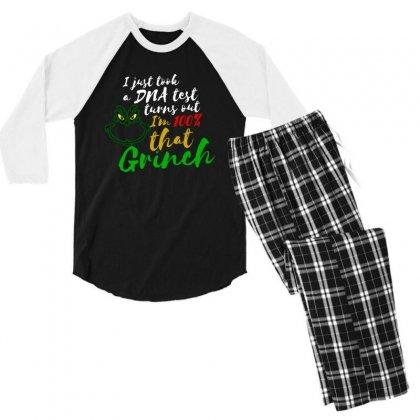 I Just Took A Dna Test Turns Out I'm 100% That Grinch Men's 3/4 Sleeve Pajama Set Designed By Meganphoebe