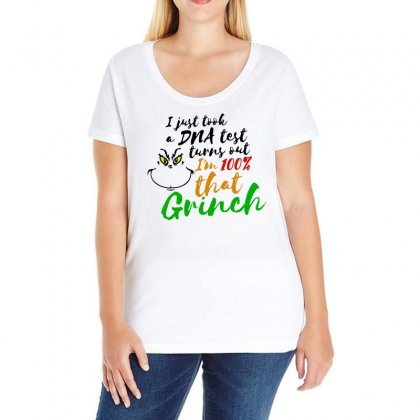 I Just Took A Dna Test Turns Out    I'm 100% That Grinch Ladies Curvy T-shirt Designed By Meganphoebe