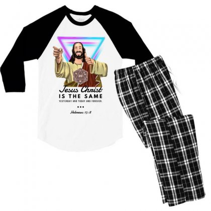 Forever Jesus Men's 3/4 Sleeve Pajama Set Designed By Meganphoebe