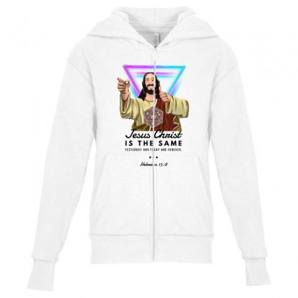 Forever Jesus Youth Zipper Hoodie Designed By Meganphoebe