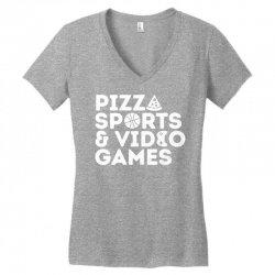 pizza, sports and video games Women's V-Neck T-Shirt | Artistshot