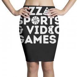 pizza, sports and video games Pencil Skirts | Artistshot