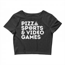 pizza, sports and video games Crop Top | Artistshot