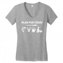 plan for today fishing hunting beer drinking Women's V-Neck T-Shirt | Artistshot