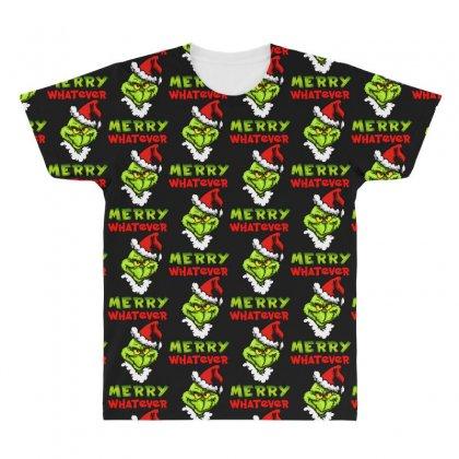 Funny Christmas Grinchy All Over Men's T-shirt Designed By Meganphoebe