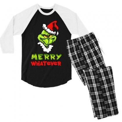 Funny Christmas Grinchy Men's 3/4 Sleeve Pajama Set Designed By Meganphoebe