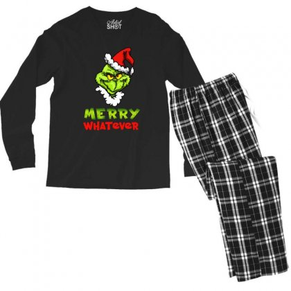 Funny Christmas Grinchy Men's Long Sleeve Pajama Set Designed By Meganphoebe
