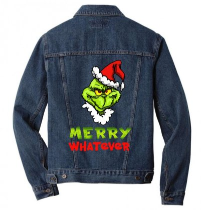 Funny Christmas Grinchy Men Denim Jacket Designed By Meganphoebe