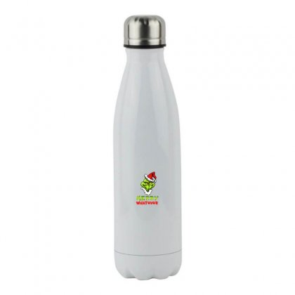 Funny Christmas Grinchy Stainless Steel Water Bottle Designed By Meganphoebe