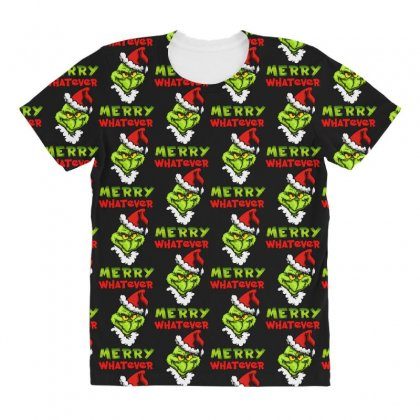 Funny Christmas Grinchy All Over Women's T-shirt Designed By Meganphoebe