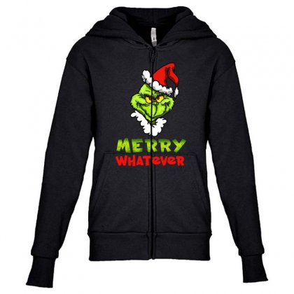 Funny Christmas Grinchy Youth Zipper Hoodie Designed By Meganphoebe