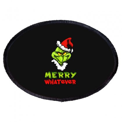Funny Christmas Grinchy Oval Patch Designed By Meganphoebe