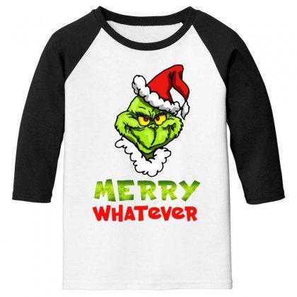 Funny Christmas Grinchy Youth 3/4 Sleeve Designed By Meganphoebe