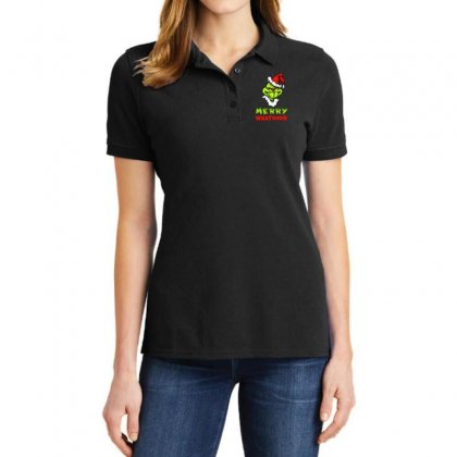Funny Christmas Grinchy Ladies Polo Shirt Designed By Meganphoebe