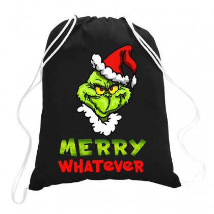 Funny Christmas Grinchy Drawstring Bags Designed By Meganphoebe