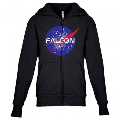 Falcon Space Agency Youth Zipper Hoodie Designed By Meganphoebe