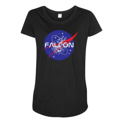 Falcon Space Agency Maternity Scoop Neck T-shirt Designed By Meganphoebe