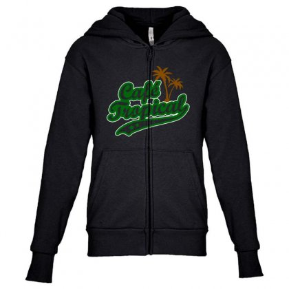 Cafe Tropical Youth Zipper Hoodie Designed By Meganphoebe