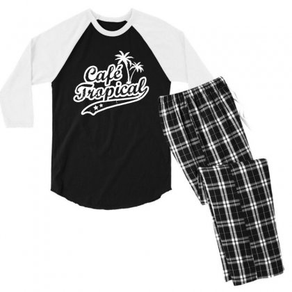 Cafe Tropical In White Men's 3/4 Sleeve Pajama Set Designed By Meganphoebe