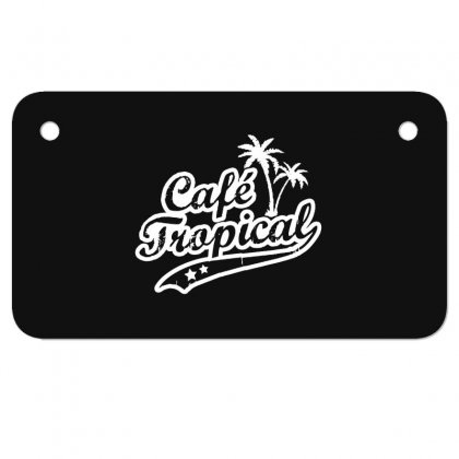 Cafe Tropical In White Motorcycle License Plate Designed By Meganphoebe