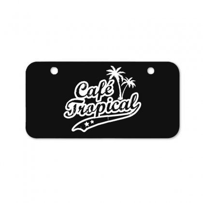 Cafe Tropical In White Bicycle License Plate Designed By Meganphoebe