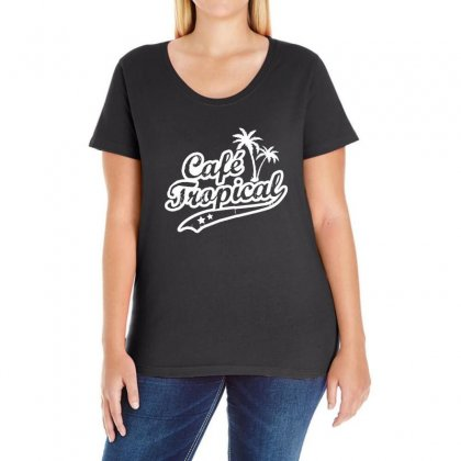 Cafe Tropical In White Ladies Curvy T-shirt Designed By Meganphoebe