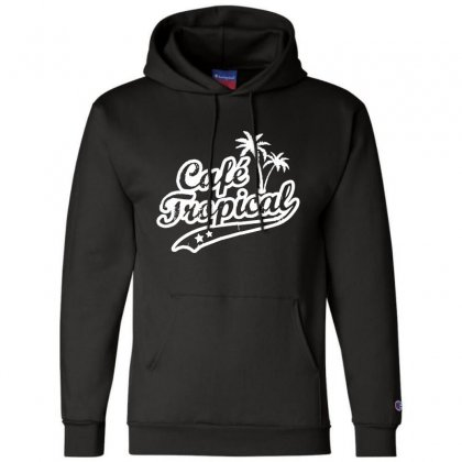 Cafe Tropical In White Champion Hoodie Designed By Meganphoebe
