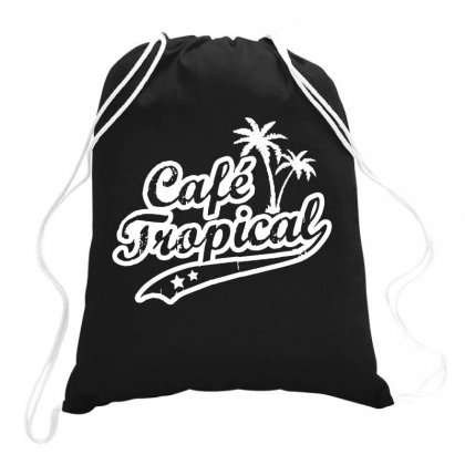 Cafe Tropical In White Drawstring Bags Designed By Meganphoebe