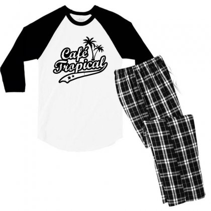 Cafe Tropical In Black Men's 3/4 Sleeve Pajama Set Designed By Meganphoebe