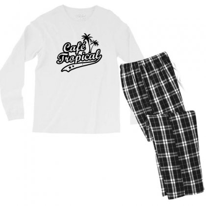 Cafe Tropical In Black Men's Long Sleeve Pajama Set Designed By Meganphoebe