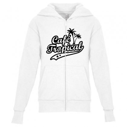 Cafe Tropical In Black Youth Zipper Hoodie Designed By Meganphoebe