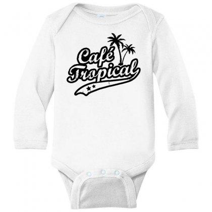 Cafe Tropical In Black Long Sleeve Baby Bodysuit Designed By Meganphoebe