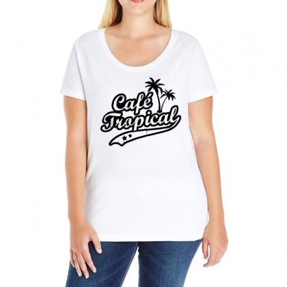 Cafe Tropical In Black Ladies Curvy T-shirt Designed By Meganphoebe