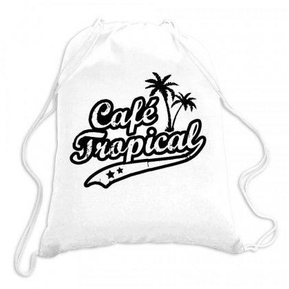 Cafe Tropical In Black Drawstring Bags Designed By Meganphoebe