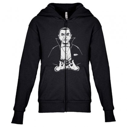 Dracula Bw Youth Zipper Hoodie Designed By Meganphoebe