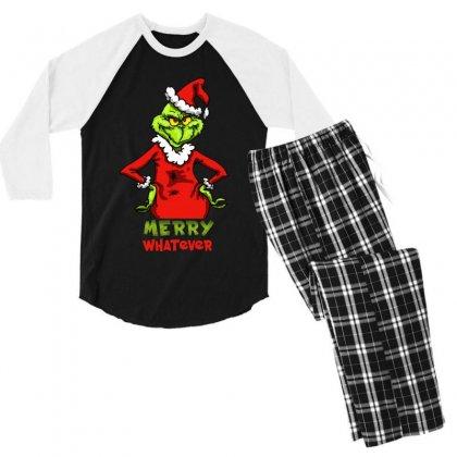 Christmas Grinchy Men's 3/4 Sleeve Pajama Set Designed By Meganphoebe