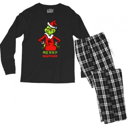 Christmas Grinchy Men's Long Sleeve Pajama Set Designed By Meganphoebe