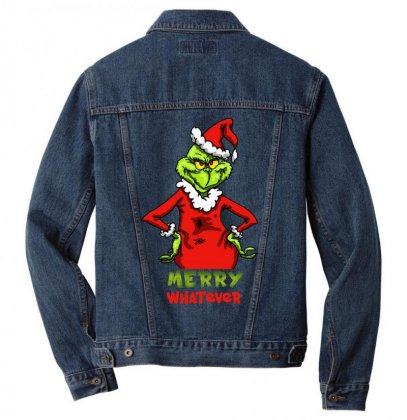 Christmas Grinchy Men Denim Jacket Designed By Meganphoebe