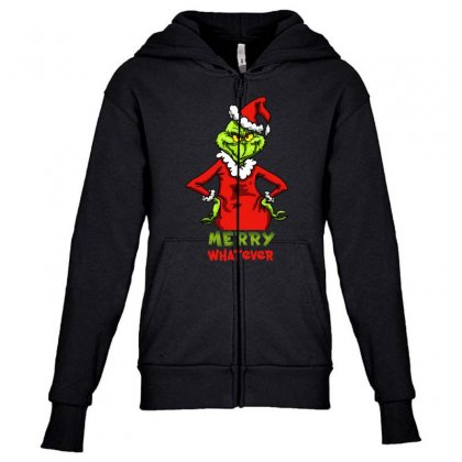 Christmas Grinchy Youth Zipper Hoodie Designed By Meganphoebe