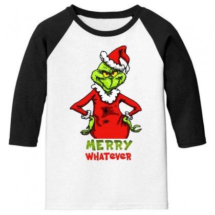 Christmas Grinchy Youth 3/4 Sleeve Designed By Meganphoebe