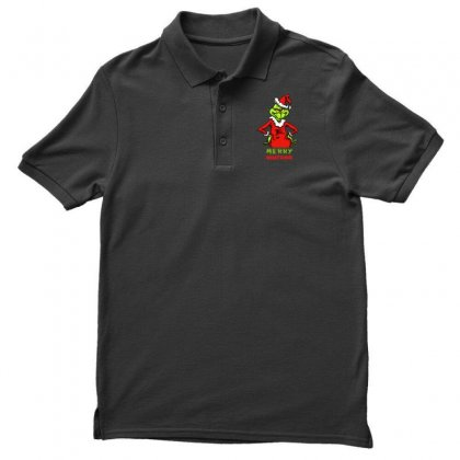 Christmas Grinchy Men's Polo Shirt Designed By Meganphoebe